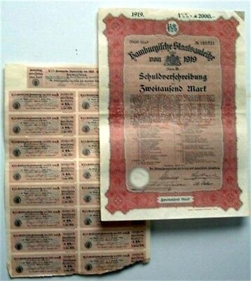 1919 Hamburg Hamburgifche Staatsanleihe Germany 2000 Mark Govt Bond + Coupons