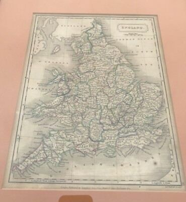 Antique Georgian Framed Map England And Wales Samuel Butler 1822