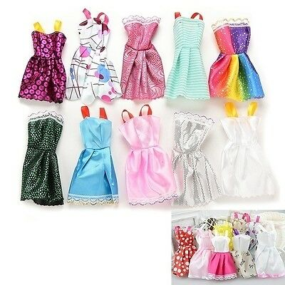 Hot 10pcs Barbie Doll Fashion Princess Dresses Outfit Party Wedding Clothes Gown