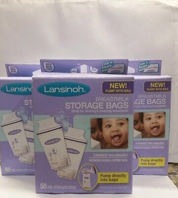 3 boxes of 50 count Lansinoh Breastmilk Pre-Sterilized Storage Bags total 150