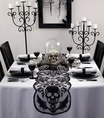 GOTH GRIM Reaper Skull Bats Black Lace Halloween Table Runner 72x