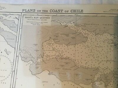 Genuine 60s Vintage Nautical Chart Plans on the Coast of Chile