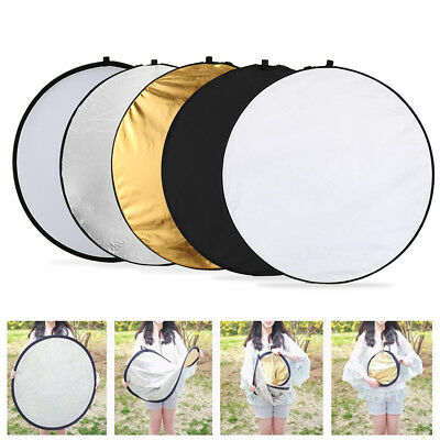 """5in1 110cm 43"""" Light Diffuser Studio Photo Round Reflector Disc +Carrying Bag UK"""