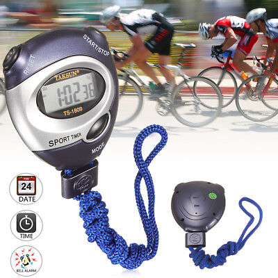 Handheld Digital Sports Stopwatch Stop Watch Timer Date Time Alarm Counter UK