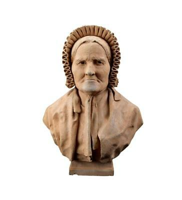 French Antique Carved Terracotta Sculpture Tarn Old Lady Bust by FC Picard
