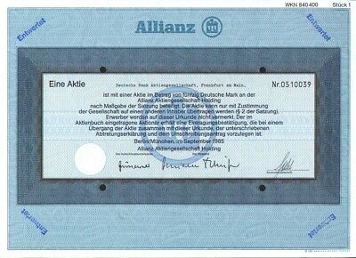 Allianz Namens- Aktie, Berlin/München, 5 Mark, 1997