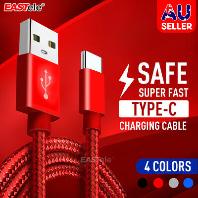 2.4A Braided USB Type-C USB-C to Male Data Snyc Rapid Charger Cable S10 S9 S8