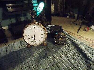 Vintage LOOPING & BULOVA 8 BRASS MINIATURE ALARM CLOCK Lot Of 2 (For Repair) !