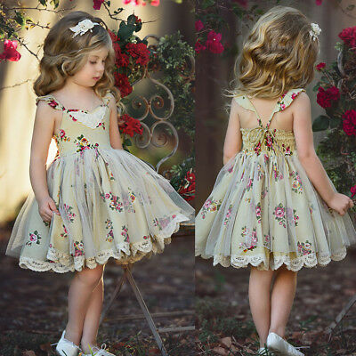 Flower Girl Dress Baby Lace Flower Tulle Princess Party Dress Outfits Sunsuit
