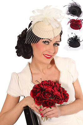 retro Burlesque Headpiece Fascinator Pillbox Hut Kopfschmuck
