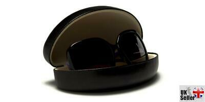 Black Faux Leather Clam-Shell Sunglasses Case
