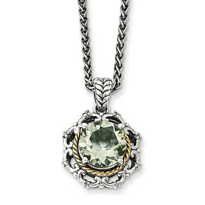 14k Yellow Gold w/Sterling Silver Two-Tone w/Antiqued Green Quartz and Diamond N