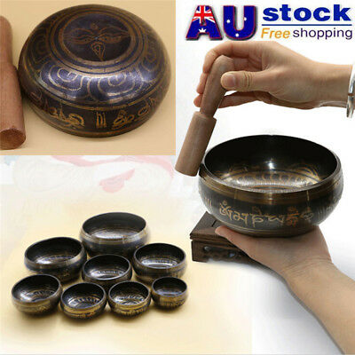 AU Tibetan Bell Metal Singing Bowl with Striker for Buddhism Buddhist Relaxation