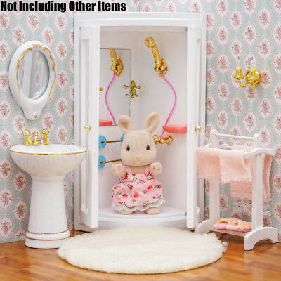1:12 Miniature White Wooden Bathroom Shower Room Furniture Dollhouse Home Decor