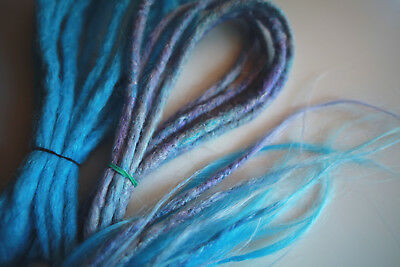 12 DE Dreadlocks Dreads double end blau lila synthetic Kanekalon