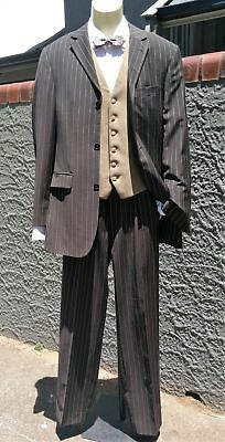 Men's Brown Pinstriped 2pc suit, by 'Anson's', Size S