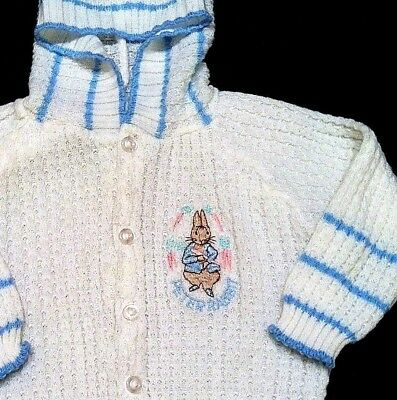 VINTAGE Quiltex Littleknits PETER RABBIT Baby Boy Girl EASTER Bunny Sweater 9 M