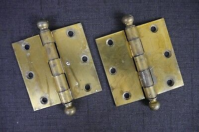 """Antique Vintage Ball Tip Hinges Pair National Hardware 3"""" X 3"""" Brass Plated"""