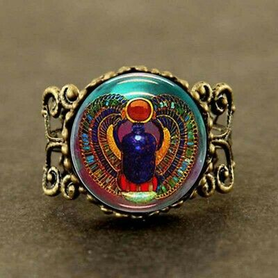 Scarab Glass Ring Egyptian Egypt Pharaoh Jewelry Faience Hieroglyph Eye Ra Pagan