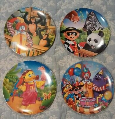 """reverse--Misprint"" Set Of 4 Vintage Mcdonalds Collector Plates Zoo Themed 1996"