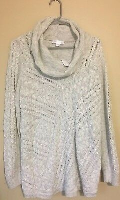 Motherhood Maternity NWT Gray Cowl Neck Chunky Cable Knit Sweater Large