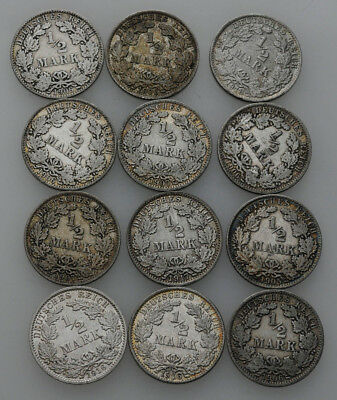 Künker: Deutsches Kaiserreich, Lot, 12 x 1/2 Mark 1905-1918, A, D, F