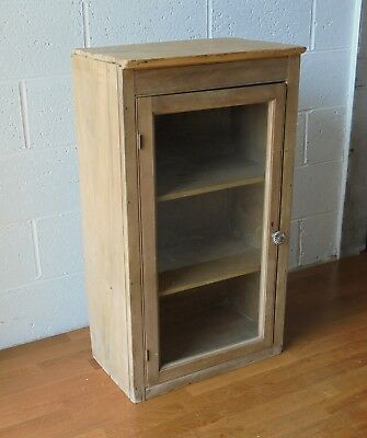 Antique Country Rustic Old Pine Cupboard Cabinet With Glazed Door And Shelves