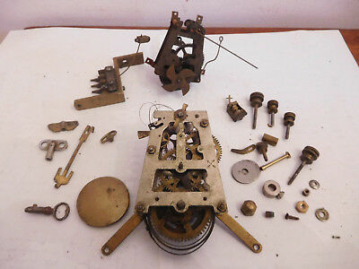 Antique Old Clock Parts Movements Pendulm Windrs Hammer Holder + Bits Ect