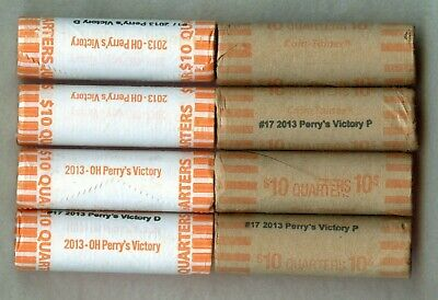 2013 P & D ~ Perry's Victory Quarter Roll Lot ~ Bu ~ Bank Wrapped ~ 2 Rolls