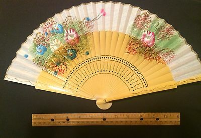Vintage -  Hand Painted Fan -From Spain  - Beautiful Color Flowers