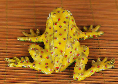 Rare Chinese Old Cloisonne Hand Painting tropical Yellow Frog Statue Decoration