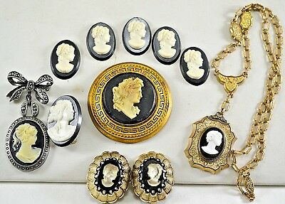 Vtg BLACK WHITE CAMEOS Victorian Unset Glass Plastic Earrings Pin Necklace Lot