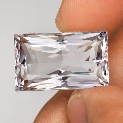 Clean! IF 25.58ct 22x13.5mm Baguette Natural Unheated Very Light Purple Amethyst