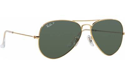 $380 Ray Ban Gold Green Aviator Classic Sunglasses Polarized Rb3025 001/58 58-14