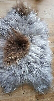 Genuine   Icelandic Sheepskin Real Fur Rug  SILVER WITH  BROWN