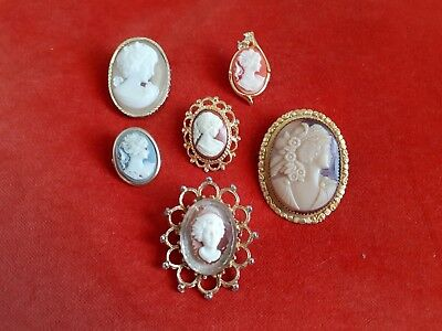 Collection job lot vintage antique cameo brooches