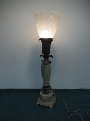 "Vintage Art Deco Green Marble and Brass Frosted Glass 20"" Table Lamp"