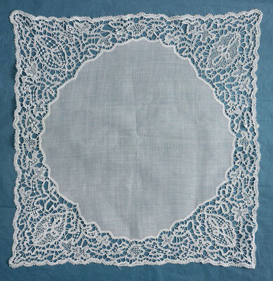 Antique hand made tape lace handkerchief