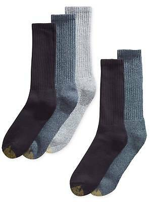 $50 GOLD TOE Men's 5-Pair Pack BLUE CASUAL CUSHIONED COTTON CREW SOCKS Size 6-12
