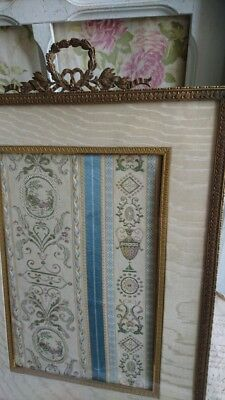SUBLIME ANTIQUE FRENCH SILK & ORMOLU LARGE PICTURE PHOTO FRAME c1910