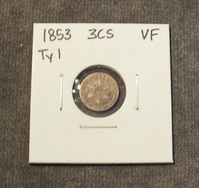 1853 Three Cent Silver 3 Cent VF Type 1 C13