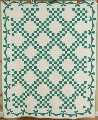 MATCHED PAIR of 30's Green Triple Irish Chain Antique Quilts ~NICE SWAG BORDERS!