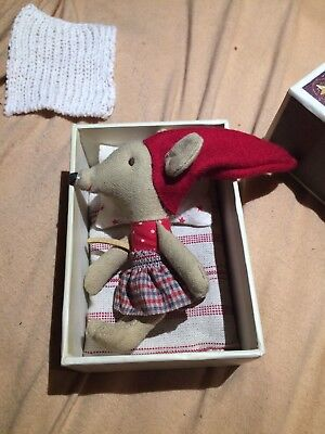 Little Sister Mouse in Box Maileg 10cm Maus Streichholzschachtel Vintage,alt