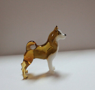 Art Blown Glass Murano Figurine Glass Dog Siberian Husky