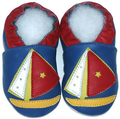 Soft Sole Leather Baby Infant Shoes Boy Girl Kid Child Crib Boat Blue 0-5 years