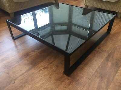 Habitat Low Black Etched Glass Coffee Table Tropical Palm Leaf