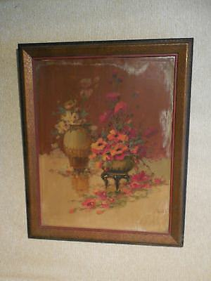 Large Early 20th Century Dutch ? Floral Oil Painting - Illedgibly Signed