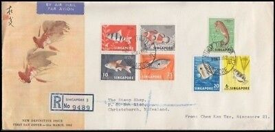 Singapore 1962 Definitives Fish Fdc Registered Airmail To New Zealand