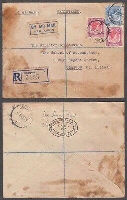 Singapore 1954 Kgvi Registered Airmail Cover To Scotland (Id:675/d51734)