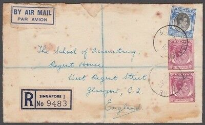 Singapore 1952 Kgvi Airmail Registered Cover To Glasgow (Id:675/d51735)